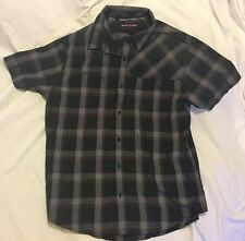 HAWK BUTTON UP SHORT SLEEVE YOUTH LARGE SHIRT NEW BLACK GRAY PLAID RVCA VOLCOM