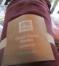 Pottery Barn Teen classic Fleece blanket twin burgundy New