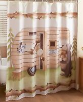 Shower Curtain Camper Moose Raccoon Bear Lodge Log Cabin Bathroom Decor
