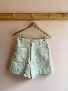 Creatures of Comfort textured cotton tweed raffia high waist sailor shorts 2 new