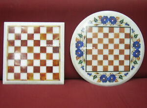 Set of 2 Marble Chess Game Table Top Pietra Dura Multi Stones Inlay Art Work