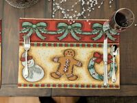 """DaDa Bedding Gingerbread Christmas Placemats Set of 4 Festive Tapestry 13"""" x 19"""""""