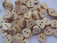 60 x WOODEN HEARTS -  2 HOLE  SEWING BUTTONS,SCRAPBOOKING, CRAFT ETC.,