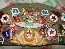 Russian Military Soldier's Old Cap With 3 patches and 29 Military Pins USSR