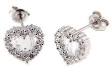 Heart Cut Stud Earrings Sterling Silver Cubic Zirconia