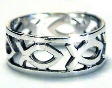 ICHTHUS Fish Band Christian Ring - Sterling Silver .925 Purity Guaranteed***