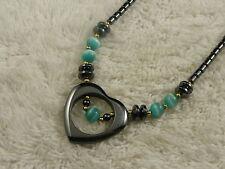 Hemetite Stone Blue Cat's Eye Glass Bead Heart Pendant Necklace (C77)