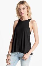 People 7315 Womens Black Ribbed Knit Racerback Tank Top Shirt S BHFO