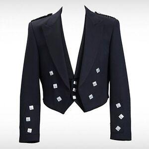Prince Charlie Kilt Black Jacket With Waistcoat/Vest-R,S&L Sleeve Sizes US Stock