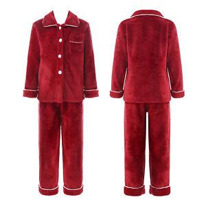 Girls Boys Fleece Button Down Pajamas Set Long Sleeve Top Long Pants Nightwear