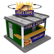 O Gauge Fish & Chips Stand w/Motorized Rotating Banner and Lighting