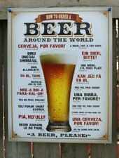 How To Order Beer Around the World Tin Sign Man Cave Japanese German French F72