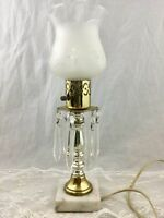 Vintage Table Lamp White Marble Base Frosted Glass Shade Hanging Prisms 13 in