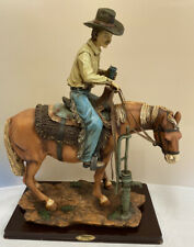 "Large 15"" The Academy Collection Figure / Sculpture of a Cowboy on a Horse (D4)"