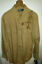 MEN'S POLO RALPH LAUREN BUTTON UP TAN SCORPION EMBROIDERED LS SHIRT SIZE XL Ptag