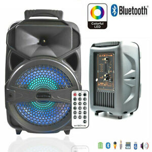 "Portable Party Speaker 8"" USB Bluetooth FM Control Loud Bass Sound Rechargeable"