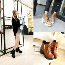 Womens Fashion Ankle Boots Platform Chunky Heel Side zip Round Toe Shoes Lace up