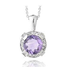 """925 Silver 2.75ct TGW Amethyst & White Topaz Round Necklace, 18"""""""