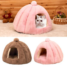 Pet Calming Bed Foldable Fleece Hide & Seek Cat Tent Cave with Removable Cushion