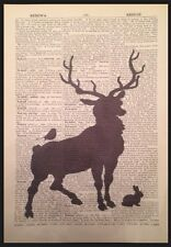Vintage Stag Deer Print Dictionary Page Picture Wall Art Rabbit Bird Silhouette
