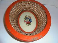 Vintage Floral oblong vanity basket Red rim metal woven, LOOKS like glass bottom