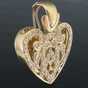 Large Solid 9k Yellow GOLD OPENWORK HEART & 53 DIAMOND PENDANT / ENHANCER 9.2gm