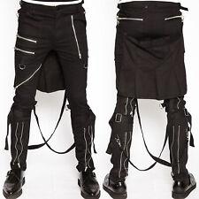 TRIPP NYC Bumflap Fibbia Bondage Regolazione Stretch Uomo Skinny Jeans Pant Nero