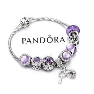 Pandora Silver Bracelet with Purple Key Best Mom European Charms Size S 18cm