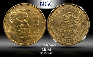 1992-MO MEXICO 100 PESOS NGC MS 65 FINEST KNOWN