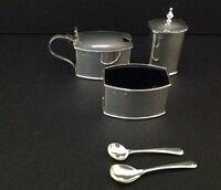 Art Deco Antique English Sterling Silver Cruet Condiment Set