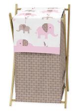 Sweet Jojo Designs Kid Baby Clothes Laundry Hamper for Pink Elephant Bedding Set