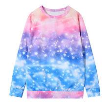 Harajuku Galaxy Printed Gradient Summer Long Sleeve Top Women Tee Casual T-shirt