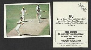 AUSTRALIA 1983 SCANLENS CRICKET STICKERS SERIES 2 - GEOFF LAWSON (NSW) # 60