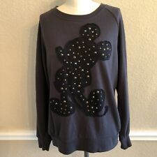 Disney Mickey Mouse Pullover Shirt Metal Bling Studs Womens M Black on Grey
