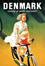 Art Ad Danish Travel Poster Mother Child Bike  Poster Print
