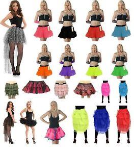 Ladies 2 Layers TuTu Skirt Dance Ruffle Edged Bustle Halloween Devil Fancy Dress