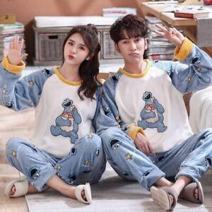 Winter Couples Unisex Flannel Sleepwear Warm Fleece Pajamas Set Lovers Nightgown