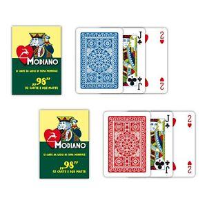 Carte Da Gioco Modiano Poker 98 Plastificate Rosse o Blu Ramino Scala Bridge