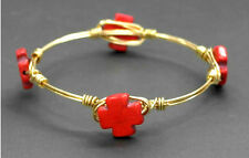 RUSTIC TRIBAL AZTEC CORAL RED STONE 4 CROSS GOLD WIRE WRAP BRACELET BANGLE