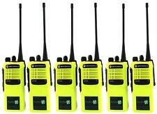 MOTOROLA GP340 UHF 4 WATT TWO WAY WALKIE-TALKIE RADIOS x 6 HI-VIZ YELLOW