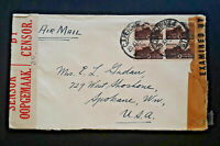 1943 Capetown South Africa To Spokane Washington Censored Airmail Cover