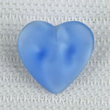 """Vintage Blue Moonglow Glass Realistic Goofie Sewing Button Heart 1/2"""""""