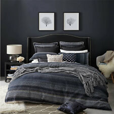 PRIVATE COLLECTION BENSON NAVY King Size Doona Duvet Quilt Cover Set