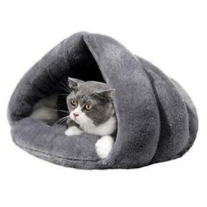 Cozy Plush Cat Cave Tent Bed Self Warming Pet Bed Washable Portable Grey