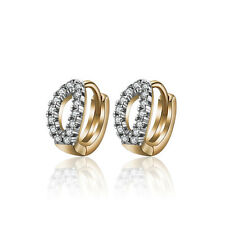 18 k Gold Plated Little Baby Girl Christening Zircon Hoops First Earrings E1126