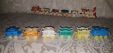 2 Vntg 6pc 1950s Ceramic Train Sets Birthday Candle Holder Cake Toppers M&G Inc