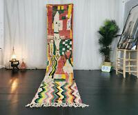 "Boujaad Moroccan Handmade Runner Rug 2'3""x11'3"" Abstract Red Green Berber Carpet"