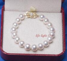 """Noblest AAA+ 10-9mm Japanese Akoya white round pearl bracelet 14k gold 7.5-8"""""""