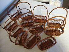 12 Small Plastic Wicker Baskets w/ Handles - Crafts