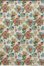 Native American beaded pattern cotton cream fabric